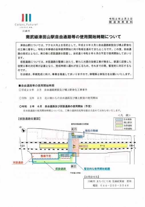 南武線津田山駅自由通路等の使用開始時期について