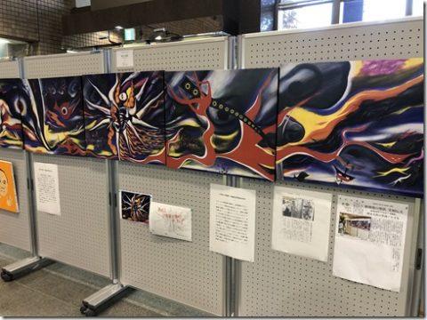 第23回高津区原爆展。岡本太郎さんの「明日の神話」写真パネルが展示
